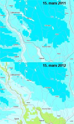 Det er like mye snø på Rena og i fjellet som i fjor, men mindre ned mot Lillehammer. (Foto: senorge.no)