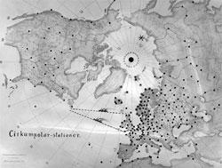 Oversikt over værstasjonene i nord i 1929. (Foto: UiB)
