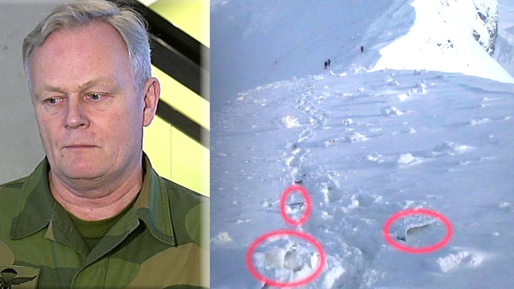 DYSTERT BILDE: Forsvarssjef Harald Sunde sier at det tegner seg et dystert bilde på ulykkesstedet om hva som har skjedd. (Foto: TV 2 / Forsvaret)