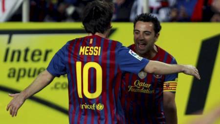 Leo Messi  Xavi Hernandez (Foto: Marcelo del Pozo/Reuters)