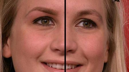 Se forskjellen! Her er Amalies høyre øyenbryn ferdig stylet,   mens hennes venster venter på tur. (Foto: God morgen Norge)