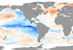 Kartet viser avviket fra normal temperatur under La Nina i november 2007. Blått viser at det er kaldere i Stillehavet, rødt at det er varmere nord i Atlanteren. (Foto: NASA)