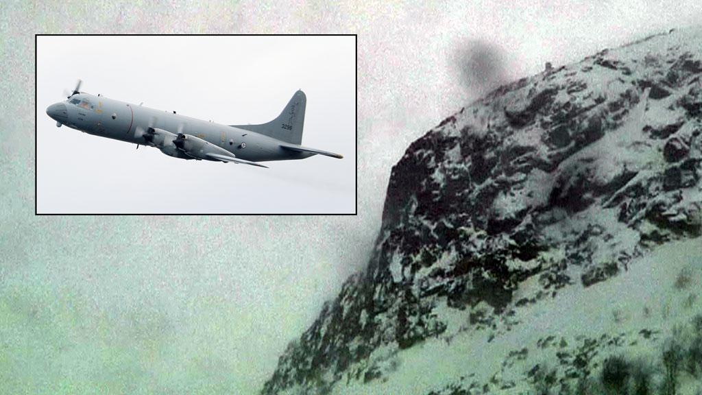 HAR GJORT FUNN: Et norsk orionfly har gjort observasjon av en gjenstand i Kebnekaise-området vest for Kiruna. Hjelpemannskapene kommer seg ikke inn på grunn av vanskelige vær- og føreforhold. (Foto: Forsvaret / TV 2)
