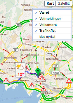 De grønne strekene viser hvor trafikken flyter klokken 13 mandag. De gule hvor det går sakte, og de røde hvor det er full stopp. Du må slå på Trafikkflyt for å se informasjonen. (Foto: storm.no/trafikk/)