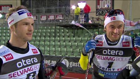 Magnus Frodahl slo Petter Northug på 100 m og slipper å legge opp. (Foto: TV 2)
