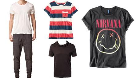 T-SKJORTEN: Klassisk hvit, farger og striper, eller favorittbandet ditt? T-skjorter kommer i mange varianter. T.v. Oversized hvit t-skjorte (kr 599, Fifth Avenue Shoe Repair/Nelly.com), stripete t-skjorte i friske farger (kr 79,50, H&M), sort t-skjorte med hals (kr 379, Mouli/Nelly.com), rocka t-skjorte med Nirvanamotiv (kr 149, H&M)