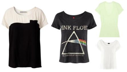 T-SKJORTE: Enkle t-skjorter til dame kan lett styles opp til stilige festantrekk. F.v. Todelt t-skjorte i sort og hvitt (kr 399, Soaked in Luxery/Nelly.com), t-skjorte med Pink Floyd-motiv (kr 149, H&M), limegrønn t-skjorte (ca kr 700,  James Perse/Net-a-Porter.com), hvit t-skjorte med stor hals (kr 79,50, H&M)