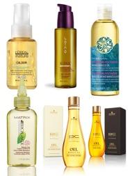 STYRKER HÅRET: F.v Olixir skal virke gjenoppbyggende på skadet og tørt hår. Inneholder 95 prosent naturlige ingredienser, og ikke fargestoffer og parabener (kr 225, L'Oréal Proffesionnel). Joico K-Pak Color Therapy Restorative Styling Oil kan brukes som pleie, UV-beskyttelse og varmeverktøy (kr 299, Joico).  Polynesia Monoi Miracle Oil kan brukes som hårkur, massasjeolje eller badeolje. Inneholder blant annet paranøtt- og monoiolje (kr 175, The Body Shop). Matrix Delicate Care Organic Oil Treatment er en hårkur som skal beskytte mot frie radikaler, gli glans og forlenge holdbarheten til hårfarge (kr 226, Matrix). Bonacure Oil Miracle inneholder argan- og marulaolje og kan både brukes til pleie og lett styling (kr 299, Bonacure).