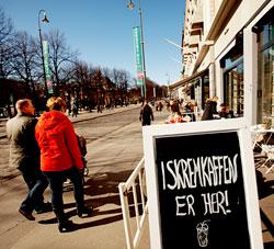 Det er stille og fint vårvær i Oslo 19. mars. I resten av landet er det nedbør og sur vind. (Foto: Stian Lysberg Solum / Scanpix)