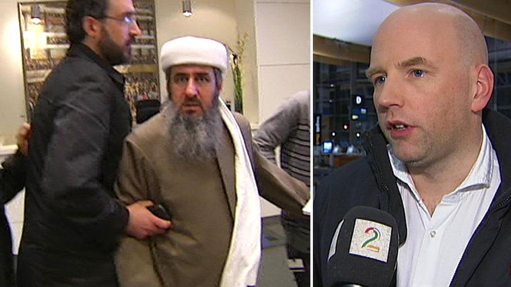 GIKK TIL ANGREP: Mulla Krekar gikk til angrep på TV 2s team i TV 2 sine lokaler da de ba om en kommentar til dommen på fem års fengsel.  (Foto: TV 2)