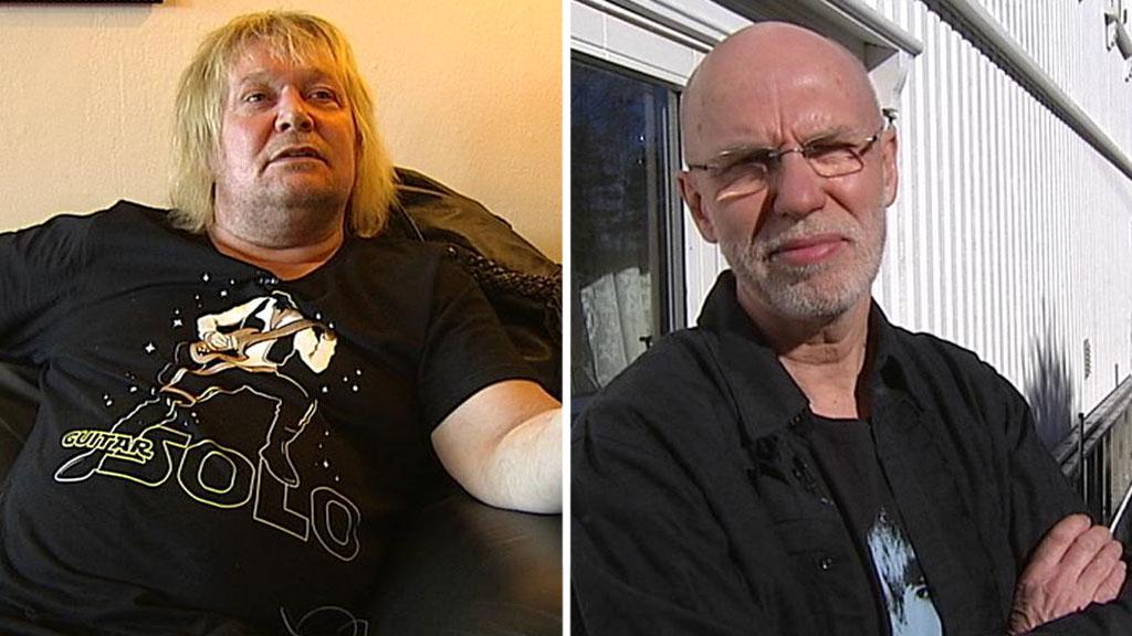 REDDET LIVET: Tidligere rusmisbruker Ottar Stensnes (t.v.) takker politiførstebetjent Torbjørn Pettersen for at han fortsatt lever. (Foto: TV 2 MONTASJE)