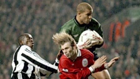 Liverpool-Newcastle 4-3, mars 1997. Kvarme, Asprilla og James. (Foto: DAVE KENDALL/AP)