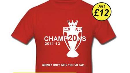 SELGER GULLSKJORTER: Disse t-skjortene selges nå på ulike United-nettsteder.   (Foto: www.unitedtees.net/)