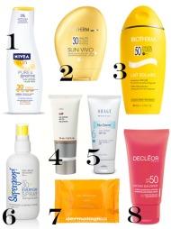 SOLBESKYTTELSE: 1) Pure & Sensitiv SPF 30 er spesielt utviklet for sensitiv hud, og er uten fargestoffer, parabener og parfyme (200 ml, veil.pris kr.149, Nivea). 2) Sun Vivo Face SPF 30 er en anti-age-solkrem for ansiktet  (50 ml, kr 270, Biotherm). 3) Lait Solaire SPF 50 er en solkrem for kropp og ansikt (200 ml, kr 225, Biotherm). 4) Sun Protector SPF 30 er en solkrem for ansiktet som inneholder blant annet E-vitamin skal skal beskytte mot frie radikaler og gi ytterligere beskyttelse mot hudaldring (75 ml, veil.pris kr 369, md formulations). 5) Nu-Derm Sun Shield SPF 50 er en anti-age solbeskyttelse med lett konsistens og matt finish. Uten parabener og dermatologisk testet (89 ml, kr 490, Obagi). 6) Everyday SPF 30+ Face & Body Super Spray fra Supergoop! er en lett vannbestandig solbeskyttelse i form av en lotion mist (90 ml, kr 155, Parfumerie). 7) Solar Defense Wipes SPF 15 er solbeskyttelse i serviettform. Hver serviett er gjennomtrukket med botaniske ekstrakter og vitamin A, C og E. Forpakning med 15 stk. servietter. Vannfast opp til 80 minutter (kr 295, Dermalogica). 8) Protective Anti-Wrinkle Cream SPF 50 er en solkrem for ansiktet (50 ml, veil. pris kr 459, Decléor).