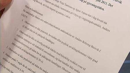 TILREGNELIG: De nye sakkyndige har konkludert med ata Breivik ikke var psykotisk i handlingsøyeblikket.  (Foto: TV 2)