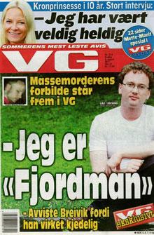 STO FRAM: Fjordman røpet identiteten sin i august da han sto   fram i VG. (Foto: Faksimile VG)