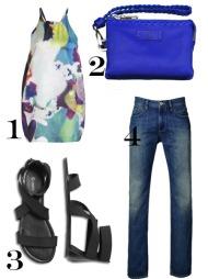 TIL HVERDAGS: 1) topp med grafisk mønster fra Affordable Luxury (kr 399, Lindex), 2) blå clutch (kr 749, Adax), 3)  svarte sandaler med strikk (kr 199, Lindex), 4) jeans (kr 699, Mexx).