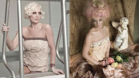 Ingrid Anette har designet og sydd både badedrakt og kjole av stomiposer. (Foto: Venstre bilde: John Andre Aasen, høyre bilde: Sølvi Strifeldt )