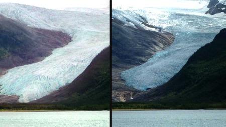 300 METER: Hele 300 meter har Engabreen trekt seg tilbake på elleve år. Til venstre ser du ut slik det var i 2001, til høyre dagens bre. (Foto: TV 2)