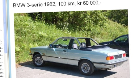 Leter man etter noe som ikke alle andre har maken til, bør en Baur-cabriolet være et godt valg. Denne annonsen er den første vi har sett i Norge på lang tid. Faksimile: Finn.no