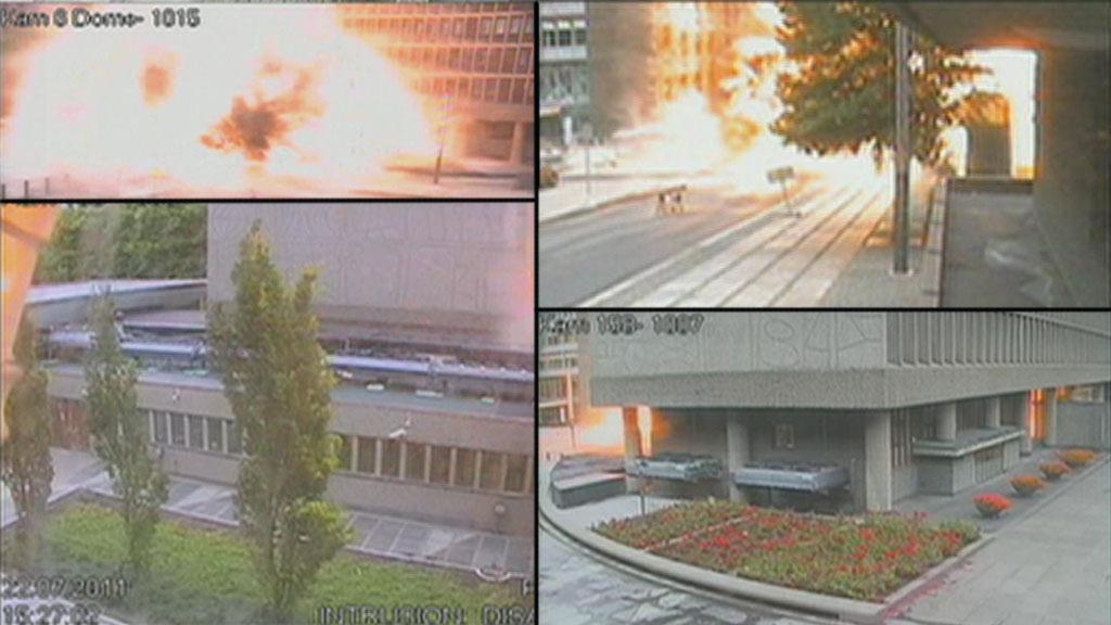 EKSPLOSJONEN: Bilder fra fire overvåkingskameraer viser bomben i regjeringskvartalet i det den eksploderer.  (Foto: Politiet)