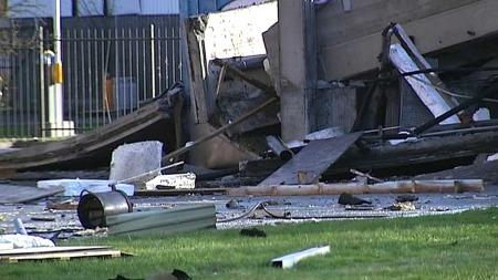 STORE SKADER: Enorme krefter var i sving under eksplosjonen. (Foto: Goran Jorganovich/TV 2)