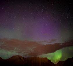 Nordlys over Ørsta i natt. (Foto: Marit Lystad Johansen)
