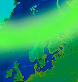 Når nordlysindeksen er 5, er nordlyset synlig sør til Danmark. (Foto: storm.no/nordlys)