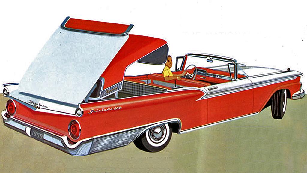 """Til tross for alt oppstyret ble Fords """"retractable hardtops"""" i årene 1957 - 1959 aldri noen stor suksess. 12.915 ble produsert i modellens siste år. Faksimile fra Fords 1959-brosjyre"""