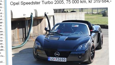 Antall Opel Speedster i Norge er ikke kjempestort - i hvertfall ikke når vi snakker om turboversjonen som ble produsert de siste to-tre årene. Kan man klare seg med en 2,2 liter uten pustehjelp er det mye penger å spare. Faksimile: Finn.no