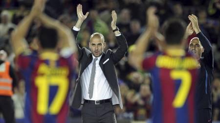 Pep Guardiola tar avskjed som trener med Camp Nou i kveld. (Foto: JOSEP LAGO/Afp)