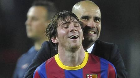 VERDENS TO BESTE: Messi og Guardiola. (Foto: Manu Fernandez/Ap)