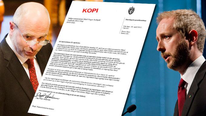 Stortingspresident Dag Terje Andersen sender brev til miljøvernminister Bård Vegar Solhjell.  (Foto: Scanpix/ montasje)