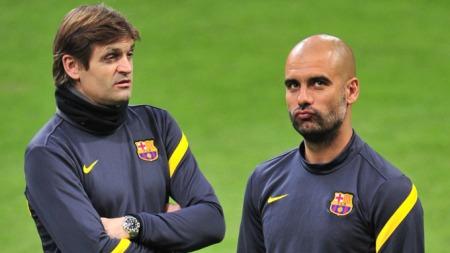 PEP OG ARVATAKEREN: Tito Vilanova overtar for Guardiola. (Foto: GIUSEPPE CACACE, ©ao)