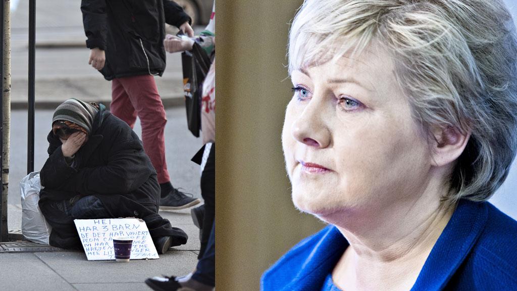 FORBUD: Med 184 mot 102 stemmer vedtok Høyres landsmøte søndag å gå inn for å gjeninnføre forbudetmot tigging.  (Foto: Scanpix)