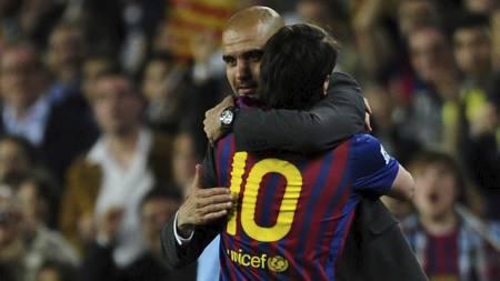 Lionel Messi og Pep Guardiola (Foto: MANU FERNANDEZ/Ap)