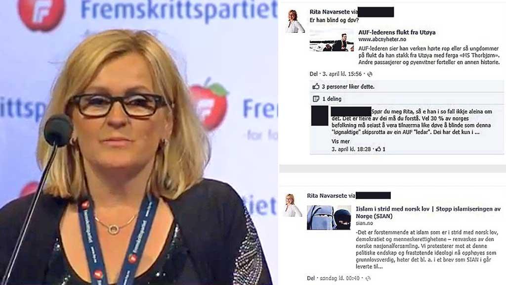 KOMMENTERTE ESKIL PEDERSEN:  Fylkestingsrepresentant Rita Navarsete (Frp) stilte spørsmål på Facebook om AUF-leder Eskil Pedersen var «blind og døv» under flukten fra Utøya. (Foto: Montasje)