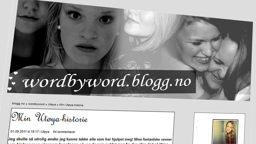 Blogget om heltinne på Utøya (Foto: Faksimile: wordbyword.blogg.no)