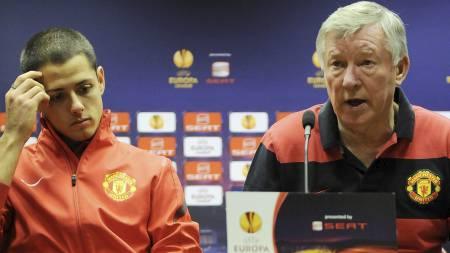 Javier Hernández og Sir Alex Ferguson (Foto: Alvaro Barrientos/Ap)