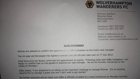 PRESSEMELDINGEN: Wolves bekrefter i denne pressemeldingen av   Ståle Solbakken blir klubbens nye manager. (Foto: TV 2 Sporten/)