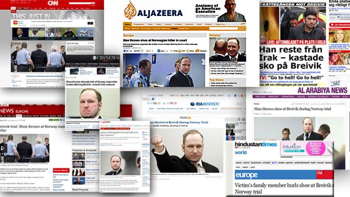 KASTET SKO: Historien om den pårørende som kastet sko på terrortiltalte Anders Behring Breivik i rettssalen fredag, gikk verden rundt. (Foto: Montasje/ skjermdump)