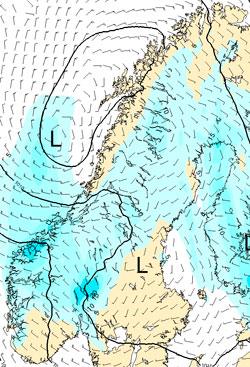 De blå områdene viser hvor prognosene forteller at det vil komme mer enn 5 mm nedbør 17. mai. (Foto: StormGeo)