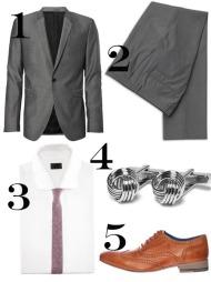 DRESSEN: 1) Grå dressjakke med én knapp (kr 1499, MQ), 2) Grå dressukse (kr 699, MQ), 3) Smalt vinrødt slips i linblanding (kr 99, H&M), 4) Mansjettknapper (kr 299, MQ), 5) Brune dressko med detaljer (kr 1699, Moods of Norway).