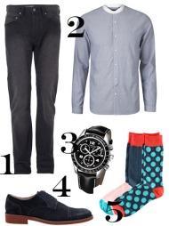 PENT, MEN AVSLAPPET: 1) Slitte sorte jeans (kr 900, Samsøe & Samsøe), 2) Blå skjorte med kule detaljer (kr 599, Marinique), 3) Klokke med svart rem (kr 2695, Tissot), 4) Mørkeblå dressko (kr 699, Bianco), 5) Finstrikkede sokker med farger og prikker (2-pack kr 49,50, H&M).