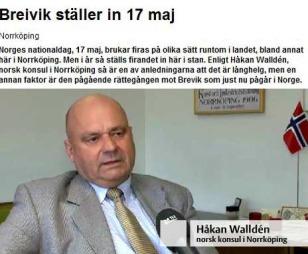 INGA FEIRING: Den norske konsulen i Norrköping Håkan Walldén seier at 17.maifeiringa blir avlyst.  (FAKSIMILE) (Foto: Skjermdump/Nt.se)
