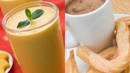 KOS: Mango Lassi (t.v) eller Churros som du dypper i sjokolade,   er deilig når du skal kose deg litt. (Foto: Colourbox)