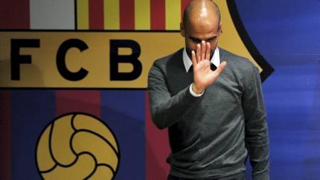 FORLATER BARCA: Pep Guardiola forlater Barcelona ved sesongslutt. (Foto: LLUIS GENE/Afp)