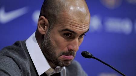 TIL PREMIER LEAGUE? Pep Guardiola har aldri lagt skjul på at han vil til Premier League. (Foto: JOSEP LAGO/Afp)