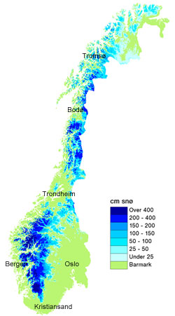 Det er også uvanlig mye snø i Nord-Norge, men for kaldt til   at det er fare for flom nå. (Foto: senorge.no)
