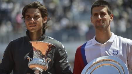 Rafael Nadal Novak Djokovic (Foto: FILIPPO MONTEFORTE/Afp)